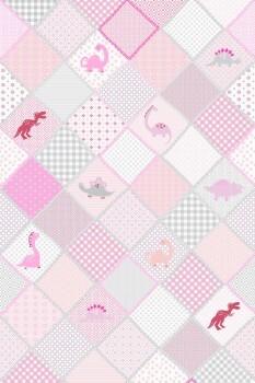 Wandbild Pink Patchwork Dinos