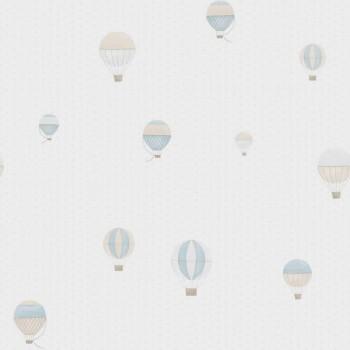 Vliestapete Heißluftballons Beige Blau