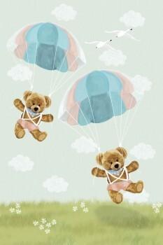 Wandbild Bären Grün Fallschirm