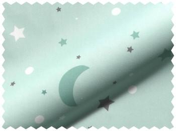 Stoff Grün-Blau Mond Sterne