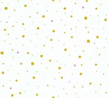Vliestapete Creme-Weiß Gold Punkte