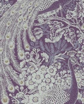 55-378005 Eijffinger Reflect lila mint Vlies-Tapete Pfau Wohnzimmer