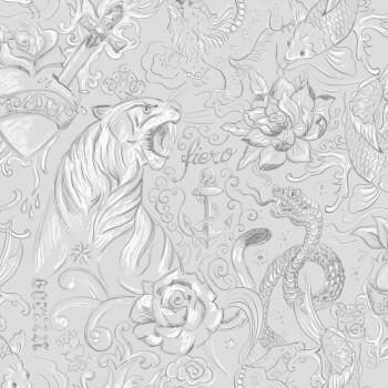 Tapete Hell-Grau Zeichnungen Tattoo