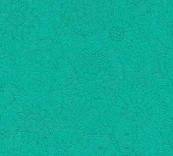 Tapete Türkisgrüne Blumen