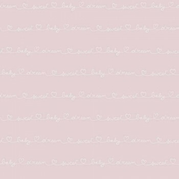 Vliestapete Rosa Schriftzüge Weiß