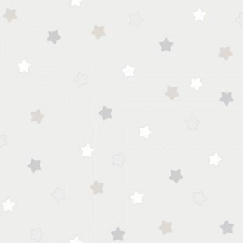 Tapete Kleine Sterne Grau-Beige Lullaby