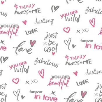Schrift Papiertapete Pink