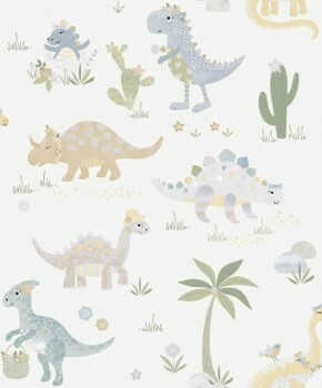 Tapete Beige Dinosaurier Schimmer