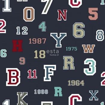 Zahlen Buchstaben Dunkel-Blau Vlies-Tapete
