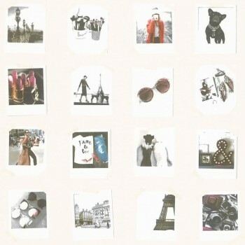 Creme Bunt Polaroids Vlies Tapete