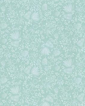 Aquamarine blue leaves non-woven wallpaper
