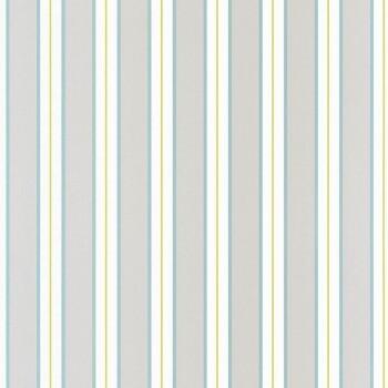 Vlies Tapete Grau Hell-Blau Streifen