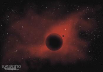 Planet Wand-Bild Schwarz