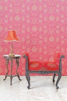 Wandbild Blumen Verzierungen Rosa-Rot