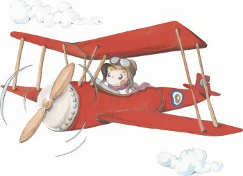 Rot Flugzeug Wandsticker Wolken