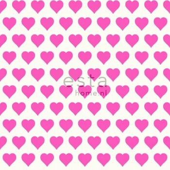 Vliestapete Herzchen Rosa Weiß
