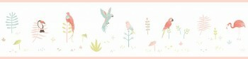 Weiß Pink Borte Vögel