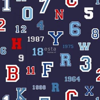 Zahlen Buchstaben Vliestapete Dunkel-Blau