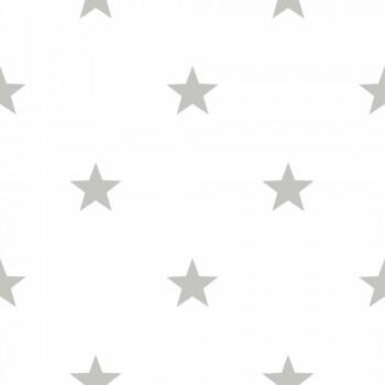 Sterne Vliestapete Silber-Grau _L