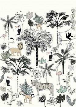 Weiß Dschungel Wandbild Vlies Tiere