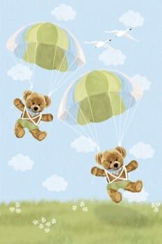 Wandbild Blau Fallschirm Bären