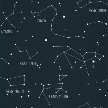 Vliestapete Nacht-Blau leuchtende Sternzeichen Our Planet