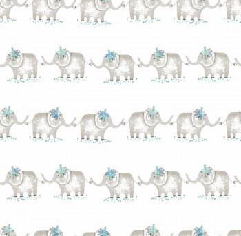 Papiertapete Weiß Graue Elefanten Blau Ohlala 335120
