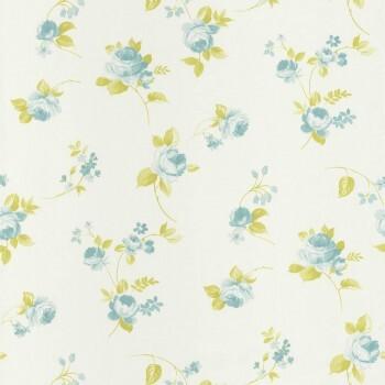Vliestapete Blumen Creme Blau
