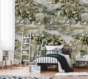 Wandbild Khaki Camouflage Muster