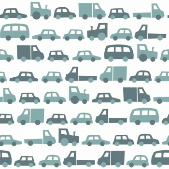 Tapete Petrol-Blaue Fahrzeuge