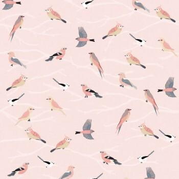 Wandbild Rosa Vögel Äste Vlies
