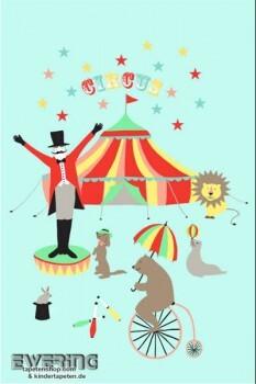 Zirkus Hellblau Wandbild