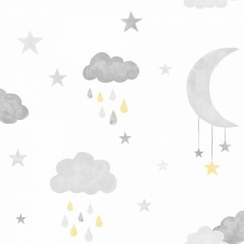 Vliestapete Wolken Grau Gelb