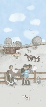 Wandbild Pferde Vlies Grau Hellblau
