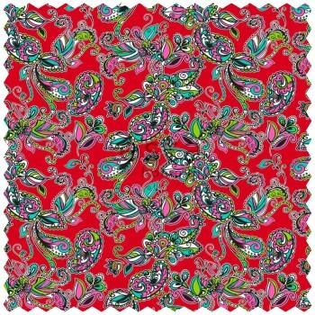 Dekostoff Funky Blumen Paisleys Rot