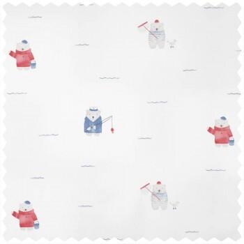 Dekostoff Eisbären blau-rot