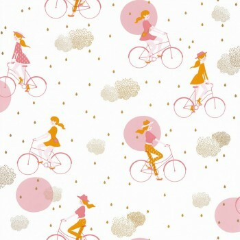 Tapete Weiß Pinkes Fahrrad