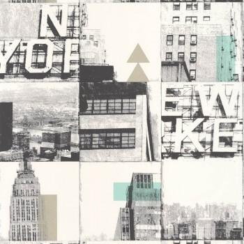 Tonic 36-TONI69486505 Vliestapete New York Bilder silber türkis