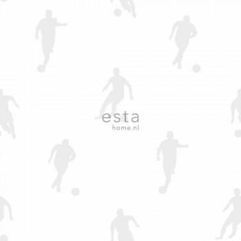 Fußball Creme-Weiß Silber Vlies-Tapete