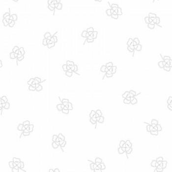 Tapete Weiß Silber-Graue Kleeblätter