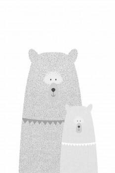 Wandbild Bären Grau Weiß