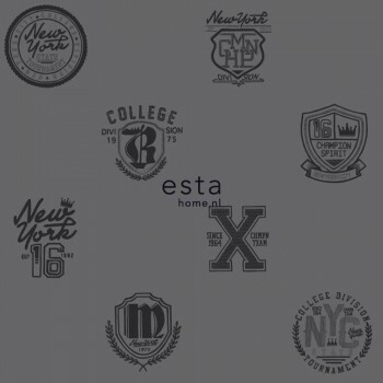 Vlies Tapete Logos Schwarz Dunkel-Grau