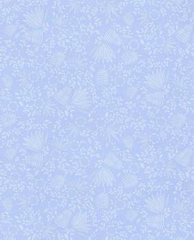 pattern wallpaper plants light-blue non-woven