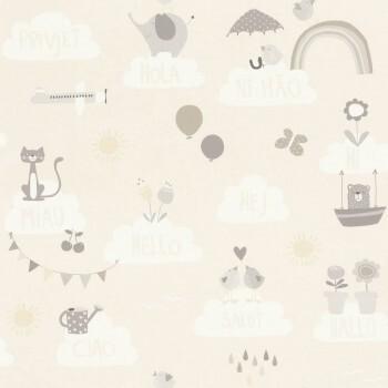 Sprachen Hallo Tapete Beige Wolken