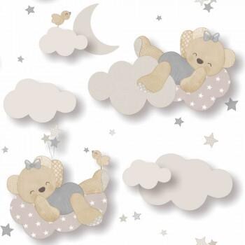Tapete Bärchen Wolken Grau