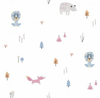Papiertapete Weiß Pink Blau Tiere Wald Ohlala 335020
