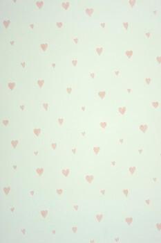 Rosa Herzen Papiertapete