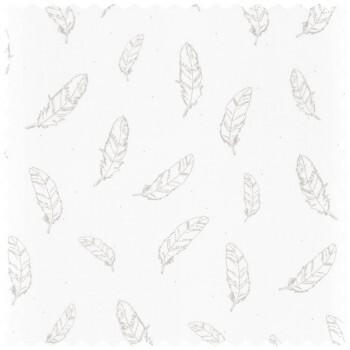 Dekostoff Weiß Silbere Feder