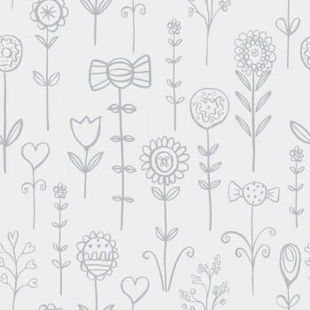 Tapete Weiß Hell-Graue Candy Blumen Vlies