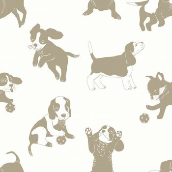 Tapete Vlies Hunde Gold Weiß